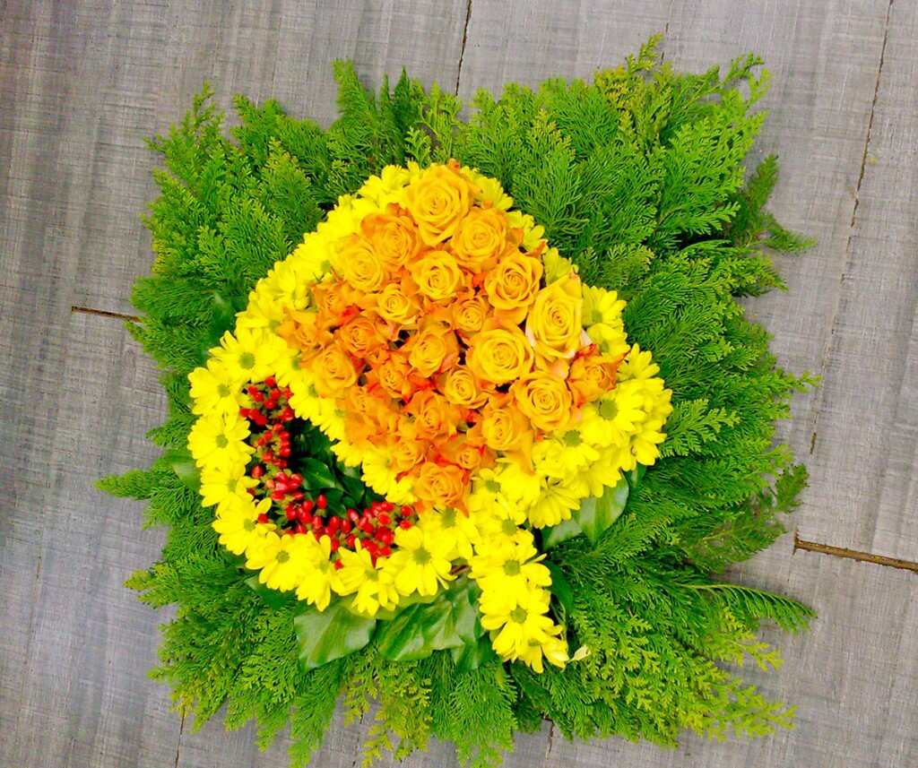 fleurs deuil jaune