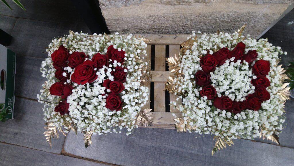 Centre de table avec les initiales des mariés